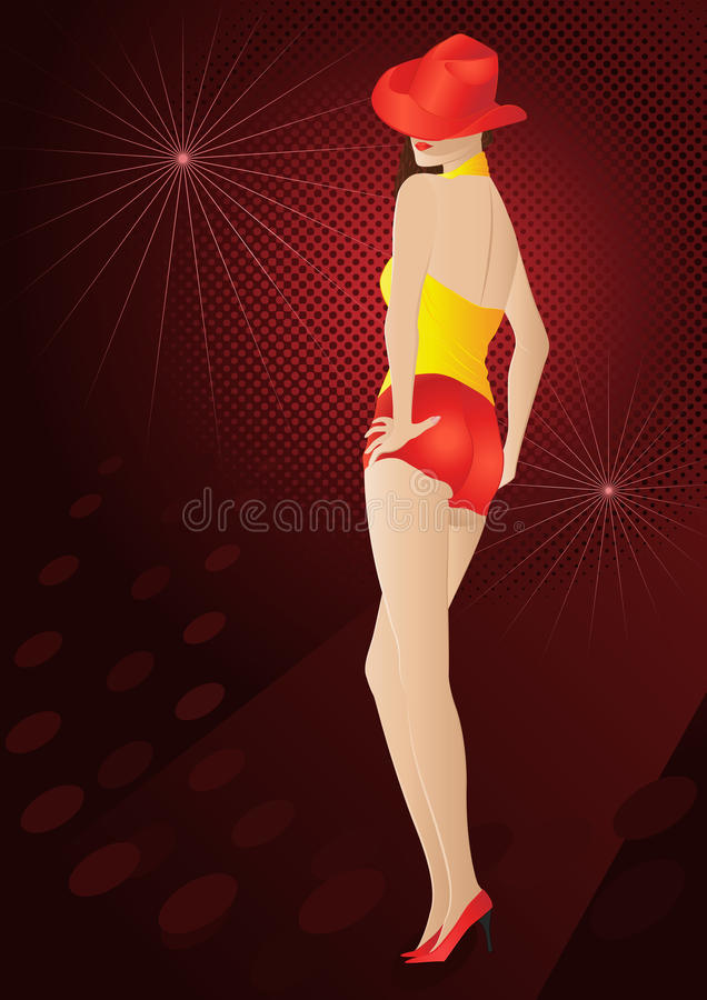 Beautiful girl with red hat. Posing beautiful girl with red hat stock illustration