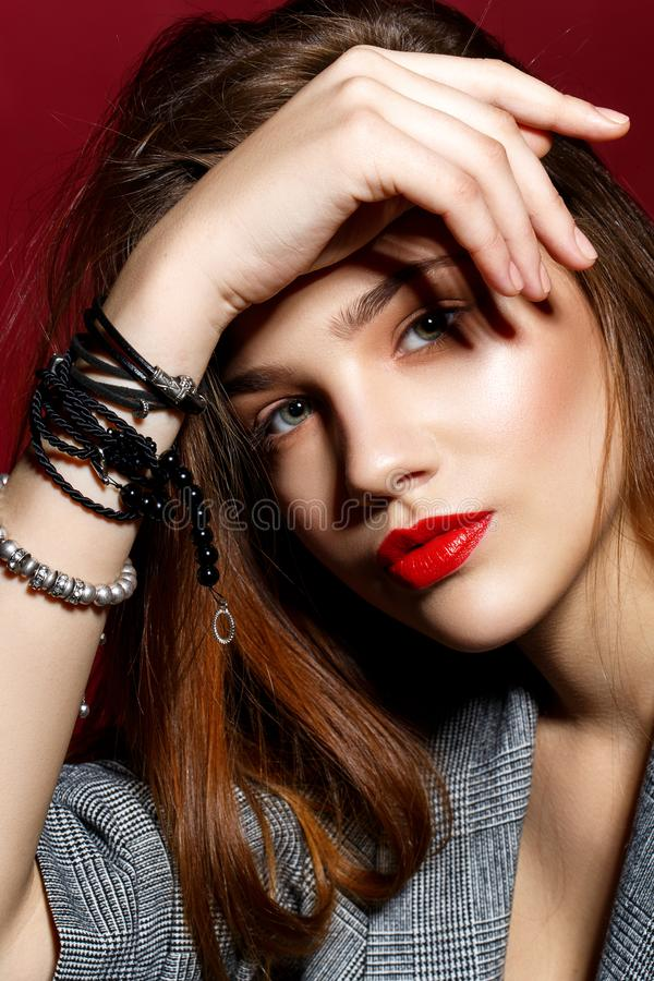 Beautiful girl with red lips royalty free stock images