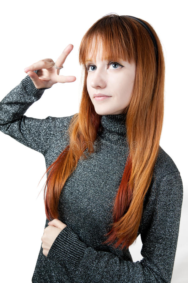The Beautiful Girl With Red Long Hair In A Sweater Stock Photos