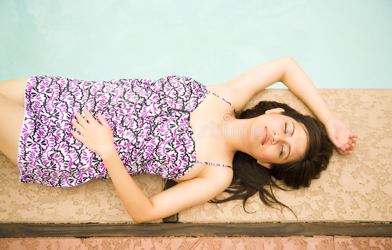 Download Beautiful Girl Relax By Pool Stock Photos - Image: 5428323