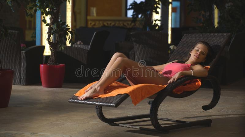 Beautiful girl relaxes in a Spa center stock photography