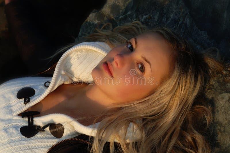 Download Beautiful girl relaxing stock photo. Image of long, reclining - 489604
