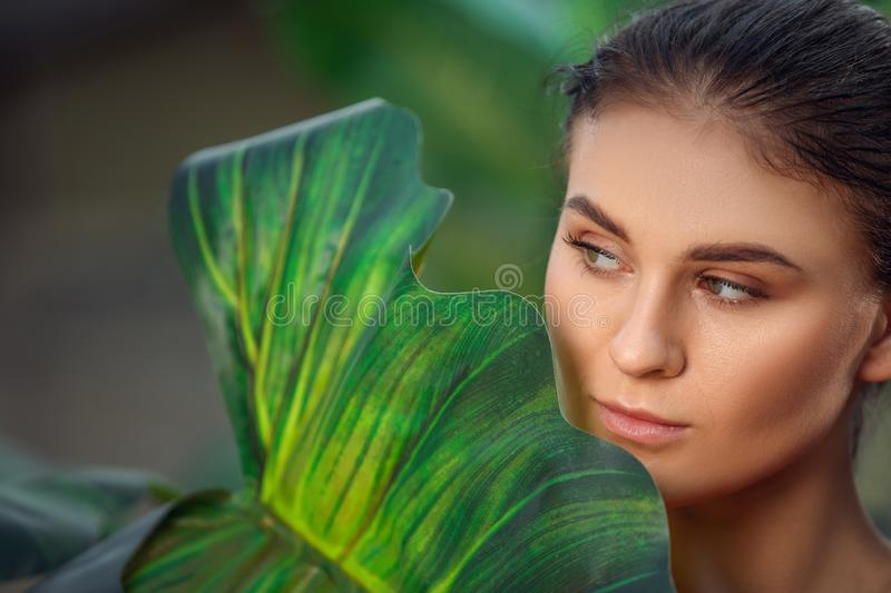 Beautiful girl resting and enjoying vacation in tropical forest. Close-up of sensual young brunette woman under palm trees. stock photo
