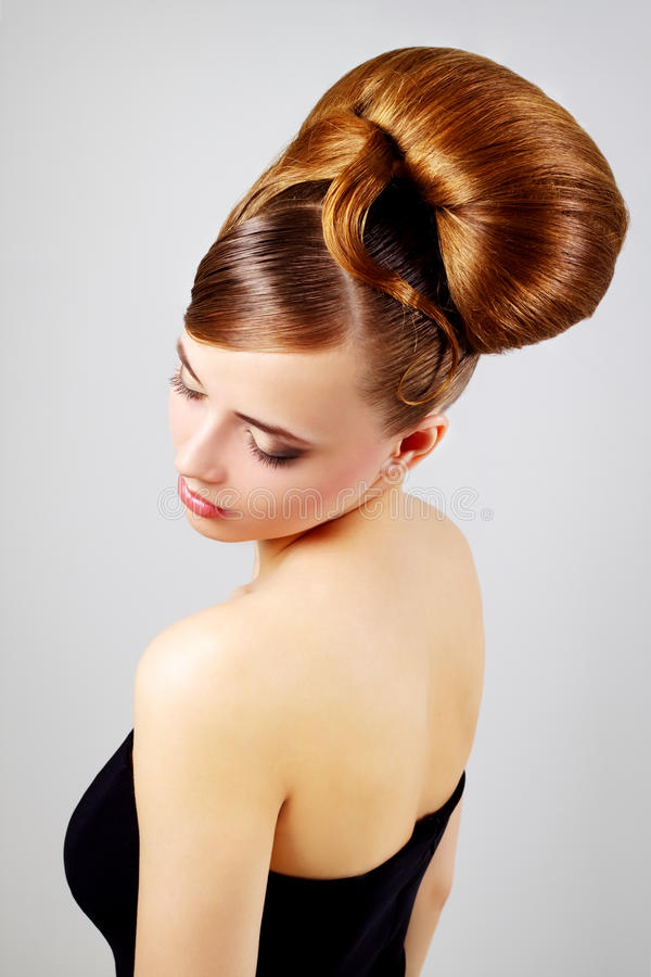 Download Beautiful Girl With Retro Hairstyle On Gray Stock Photo - Image: 23929626