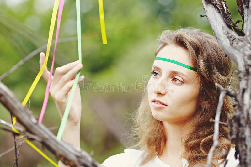 Download Beautiful Girl With Ribbons Stock Image - Image: 25208065