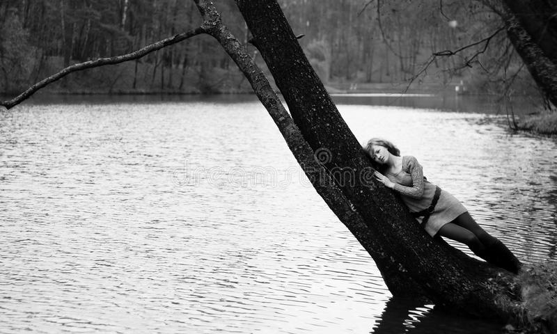 Beautiful Girl By River B/w Royalty Free Stock Image