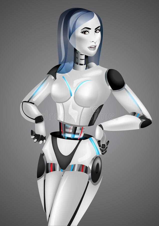 Beautiful girl robot android on gray background stock illustration