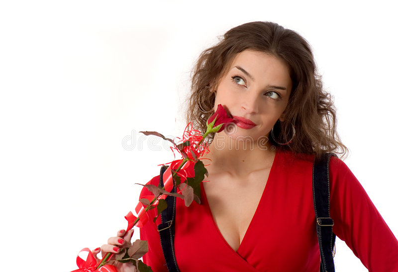 Beautiful girl with a rose stock image