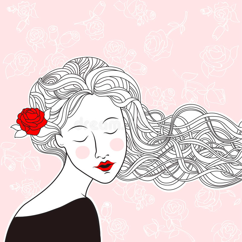 Beautiful girl with rose in hair and roses on background royalty free illustration