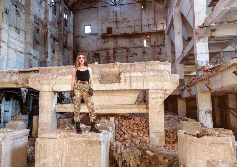 Beautiful girl on the ruins royalty free stock images