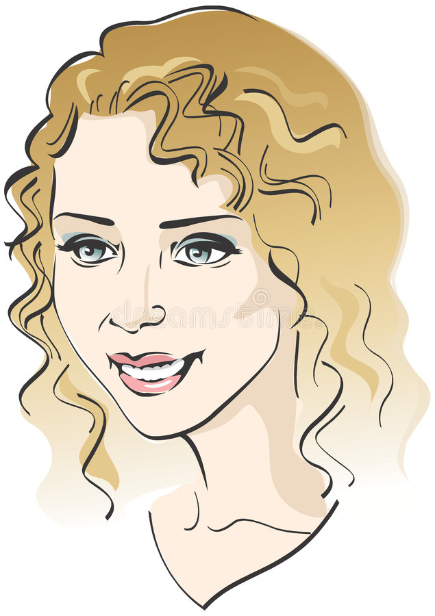 Beautiful girl's face. Vector illustration stock illustration