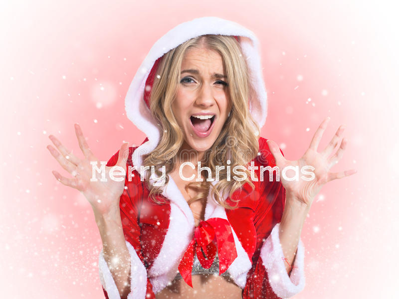 Beautiful girl, santa claus clothes. Concept -. Christmas holidays shopping woman stress. Shopper holding christmas gifts stressed, frustrated and screaming stock image