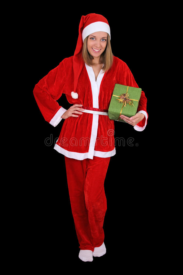 Download Beautiful Girl In Santa Clause Costume With Gift Stock Photography - Image: 27406422