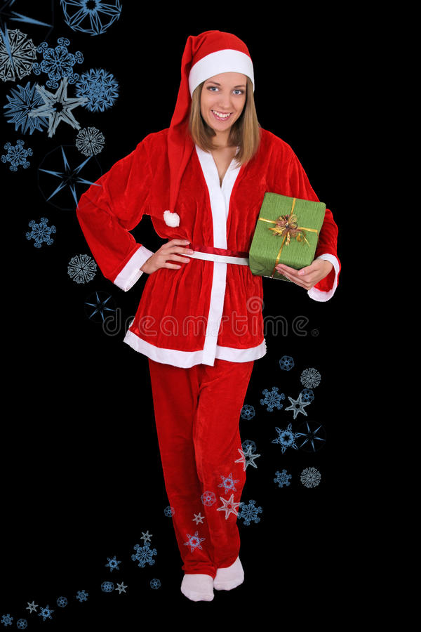 Download Beautiful Girl In Santa Clause Costume With Gift Stock Image - Image: 27470545