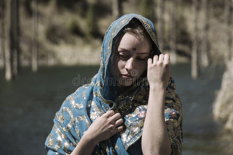 Beautiful girl in a sari stock photo