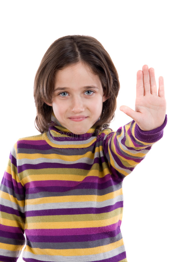 Beautiful girl saying stop with her hand. On a white background stock photo