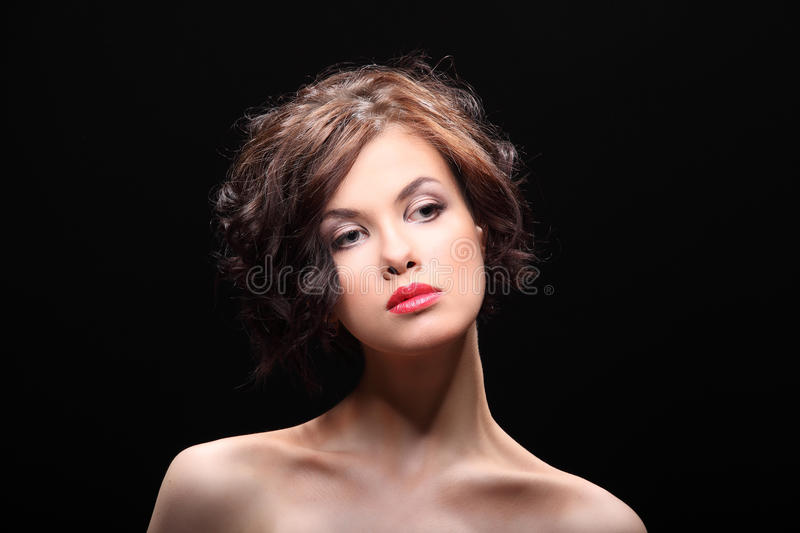 Beautiful girl with a scar on face and shoulder stock images