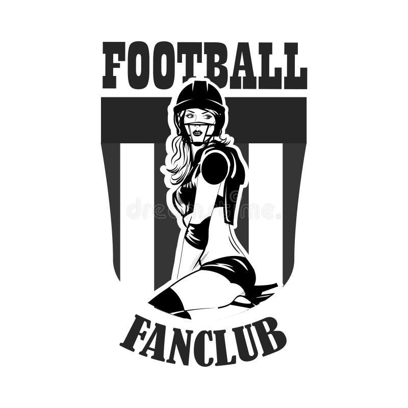Beautiful girl in uniforms. Football vector emblem stock illustration