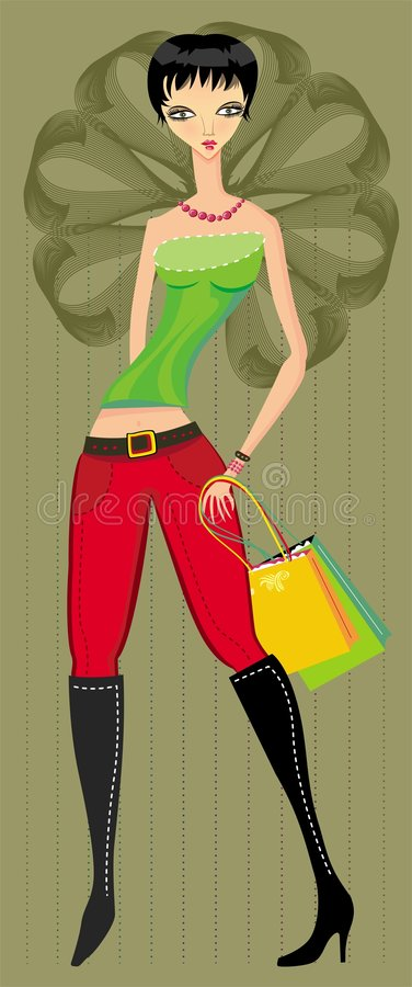Beautiful girl with shopping b royalty free stock photos