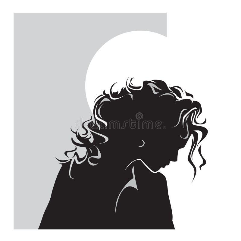 Beautiful girl silhouette stock illustration