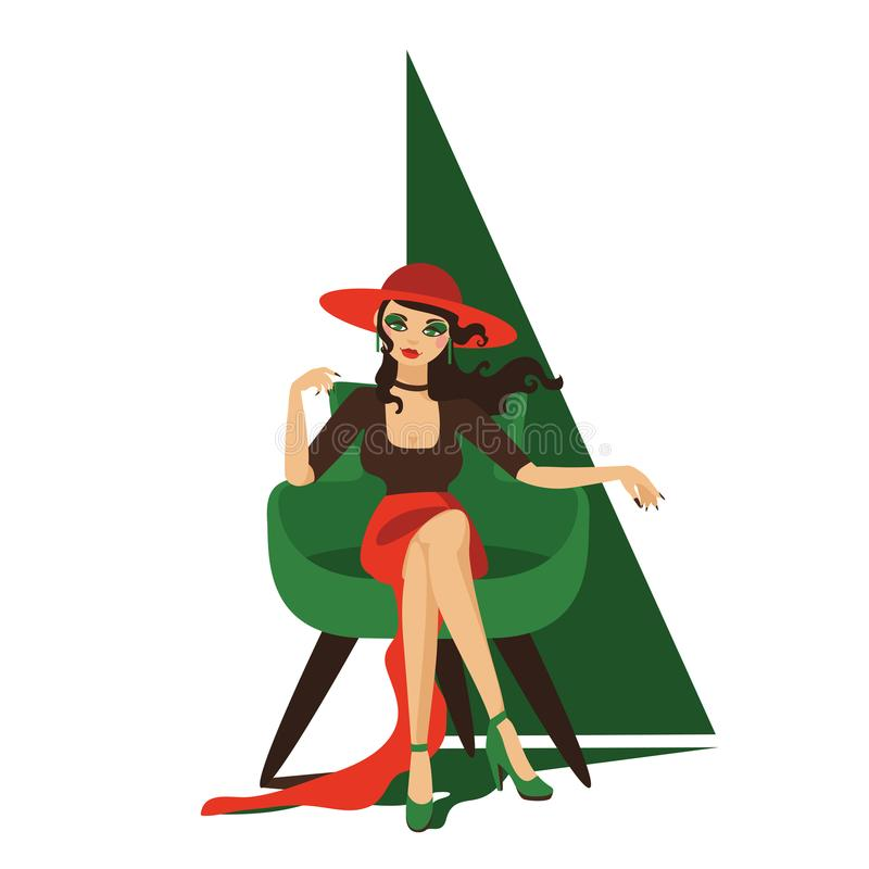 Beautiful girl sitting in chair. Hat and ling dress, relaxed pose. Lovely character, isolated on white.  royalty free illustration