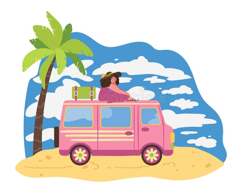 A beautiful girl is sitting on the roof of a car. Relax on the beach. Women travel by car. Van life movement. Vector illustration vector illustration