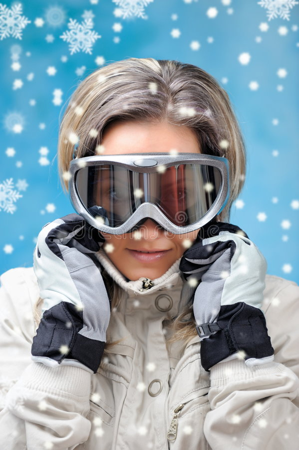 Download Beautiful Girl In Ski Clothes Stock Photo - Image of person, extreme: 7579954