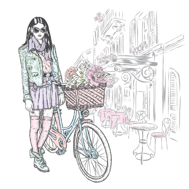 Beautiful girl in a skirt, jacket and glasses with a vintage bicycle on a city street. Vector illustration. Fashion & Style. royalty free illustration