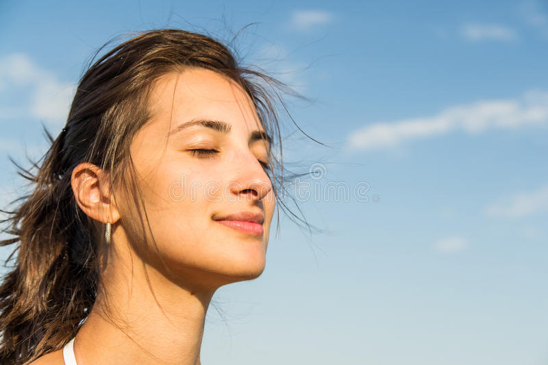 Download Beautiful Girl And Sky stock image. Image of front, happy - 26110887