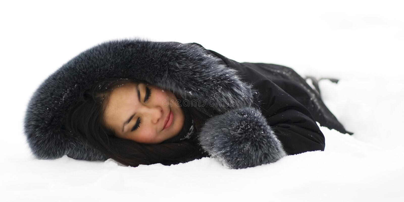 Download Beautiful Girl Sleeping In The Snow Stock Photo - Image: 12520228