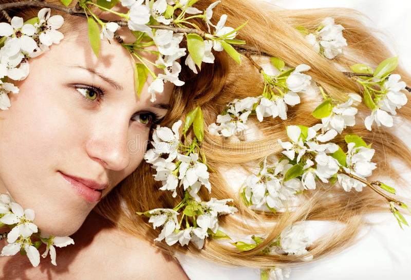 Beautiful Girl with Spring Flowers in Hair. The beautiful girl with spring flowers in hair stock photography