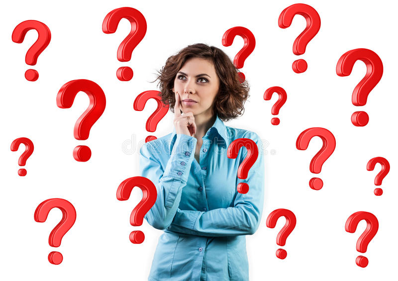Girl among questions royalty free stock photo