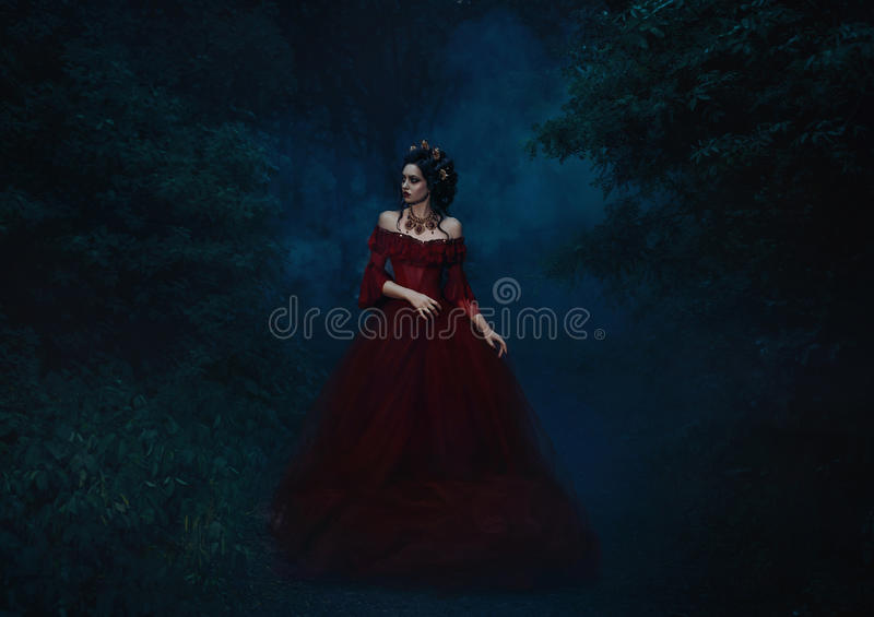 Beautiful girl standing in a red dress. Standing on the gothic background blowers forests, forest princess, halloween , dark boho , fashionable toning stock images