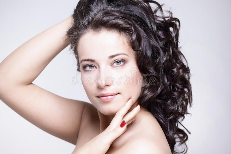 Beautiful girl with straight beauty royalty free stock photos
