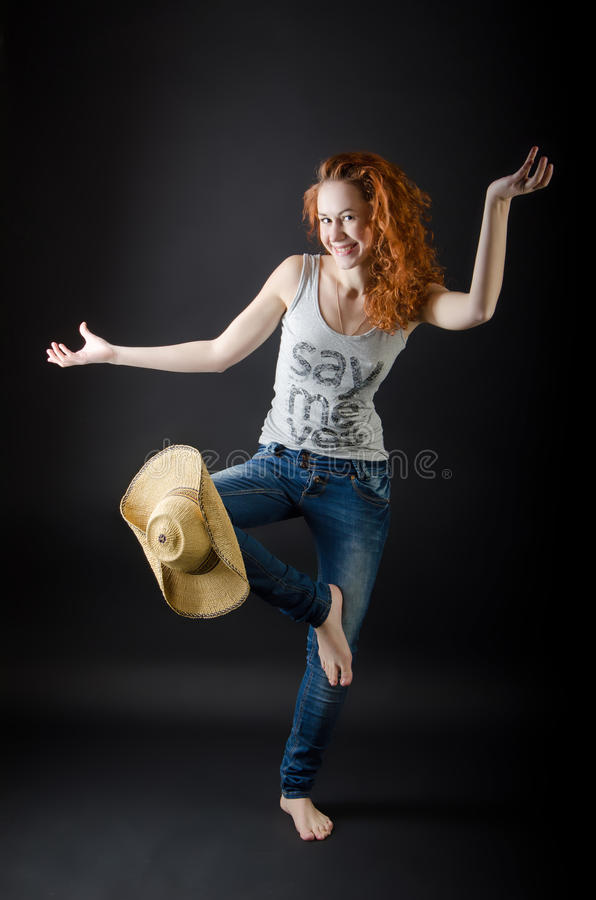 Download Beautiful Girl In A Straw Hat Stock Image - Image: 23426309