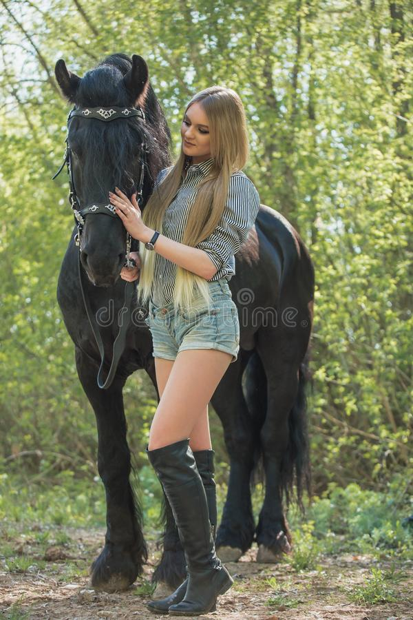 Beautiful girl stroking horse outside royalty free stock images