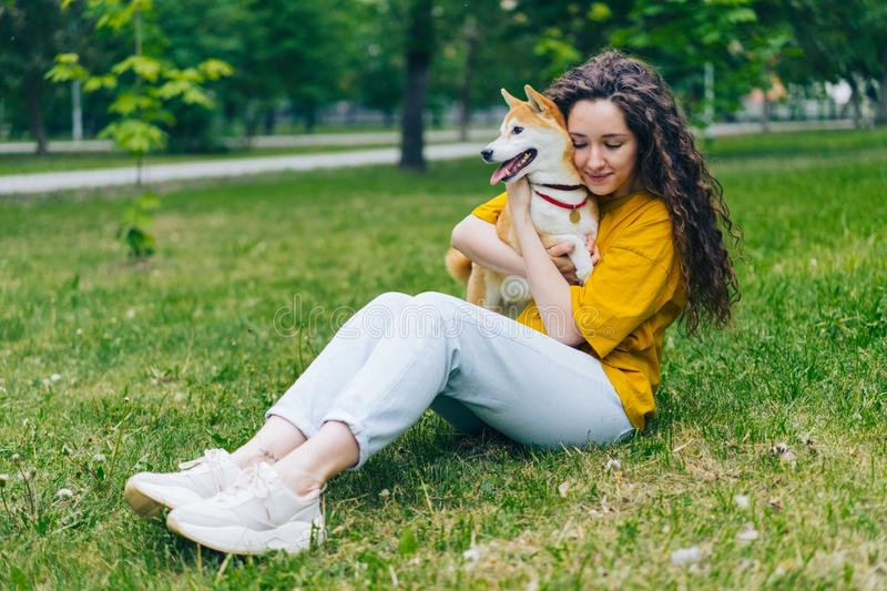 Beautiful girl student hugging shiba inu puppy on green lawn in park stock photo