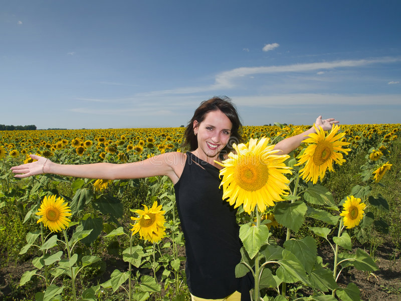 Download Beautiful Girl In The Sunflower Stock Photo - Image of face, beauty: 8685662