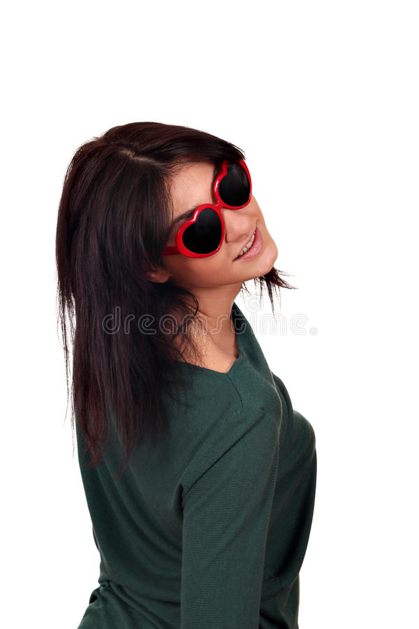 Beautiful girl with sunglasses stock photo