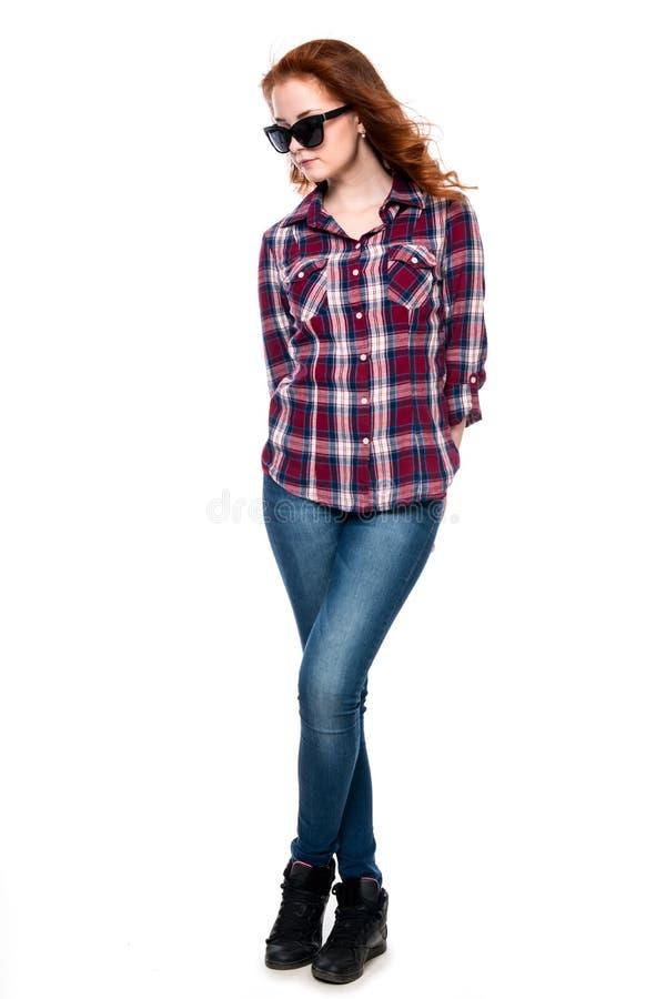 Beautiful girl in sunglasses in a full-length stock photos