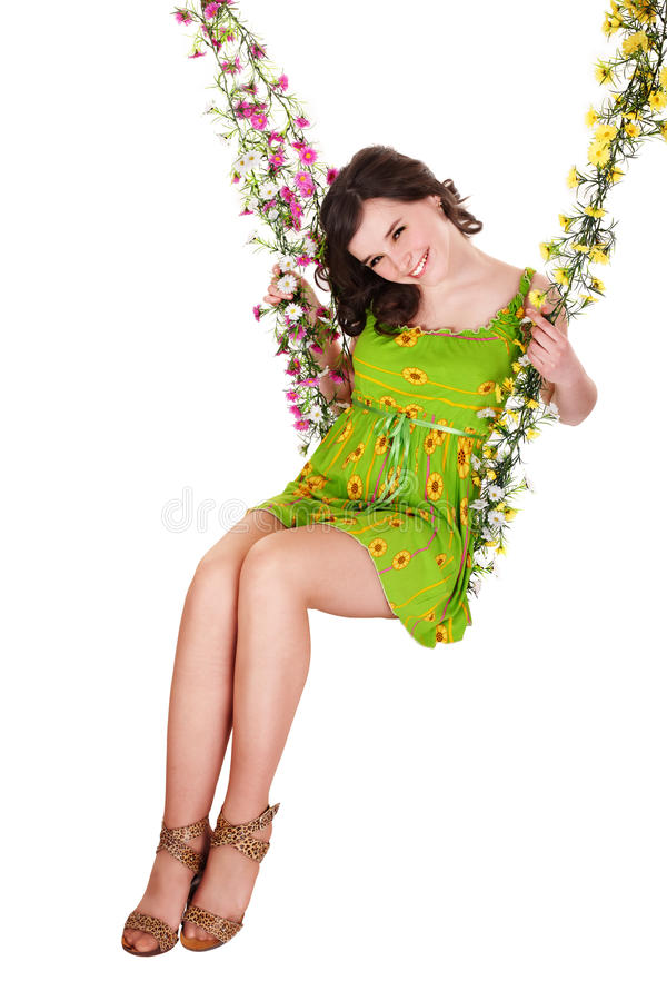 Download Beautiful Girl Swinging On Flower Swing. Stock Image - Image: 13146509