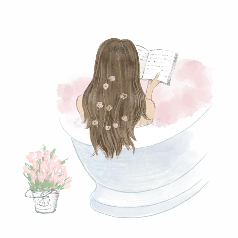 Free Beautiful Girl Taking A Bath And Reading A Book, Diary. Hand Drawn Illustration Stock Photo - 194167760
