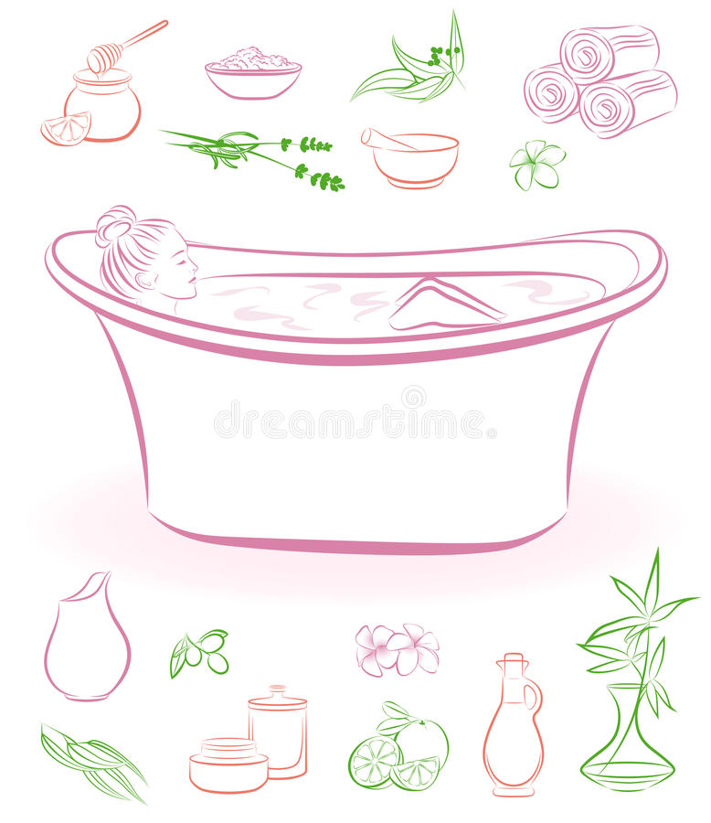 Beautiful girl taking a bath. And natural cosmetics royalty free illustration