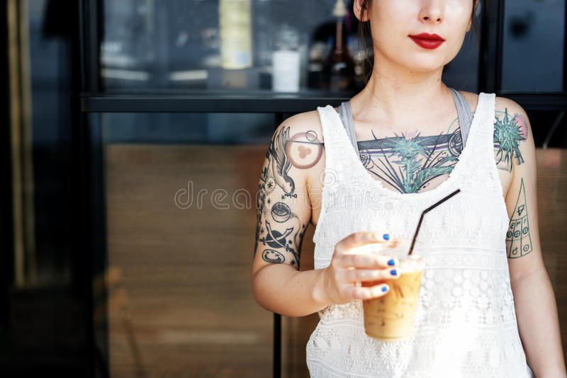 Beautiful Girl Tattoo Young Teenage Calm Casual Concept stock images