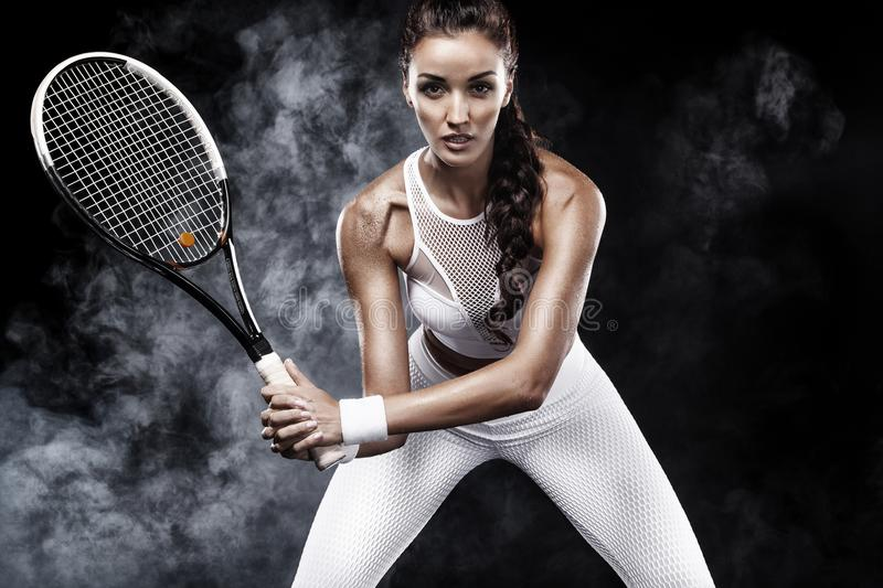Download Beautiful Sport Woman Tennis Player With Racket In White Sportswear Costume Stock Photo - Image of lifestyle, person: 103071274