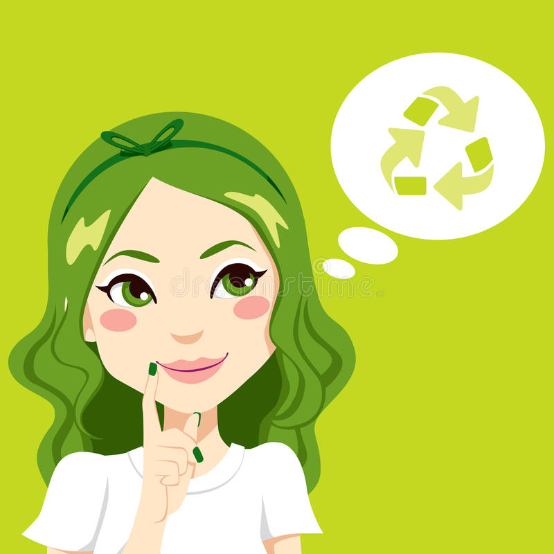 Download Girl Thinking Green stock vector. Image of drawing, bubble - 30050280