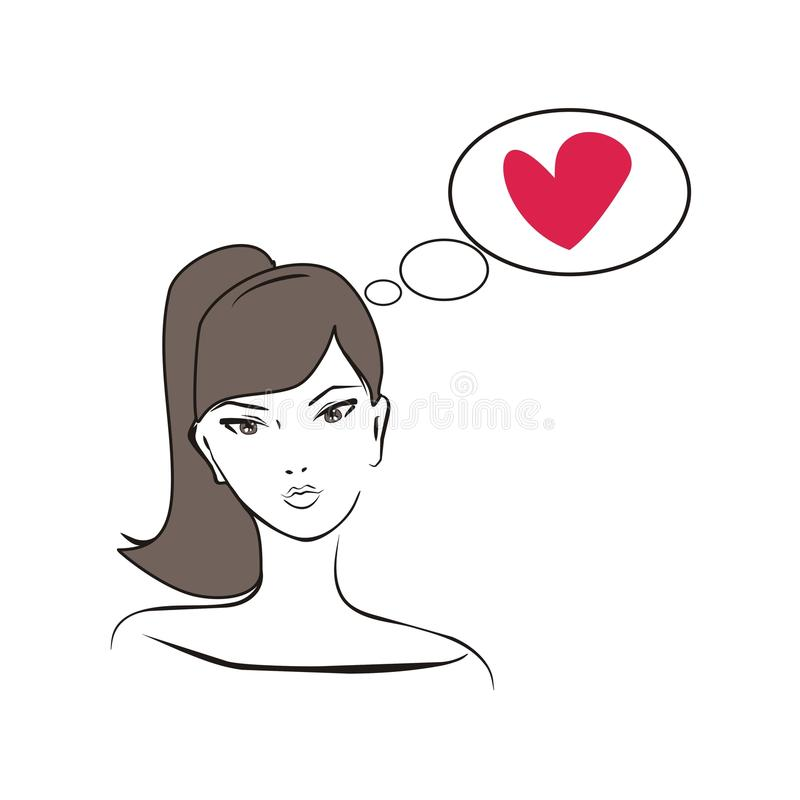 Beautiful girl thinking about love vector vector illustration