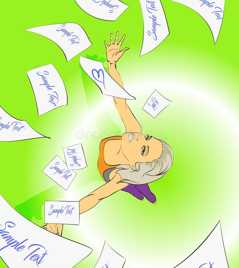 A beautiful girl throws up a piece of paper. stock illustration