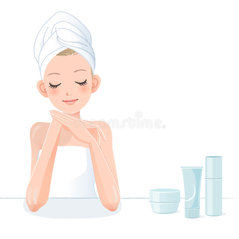 Beautiful girl in towel with beauty producs vector illustration