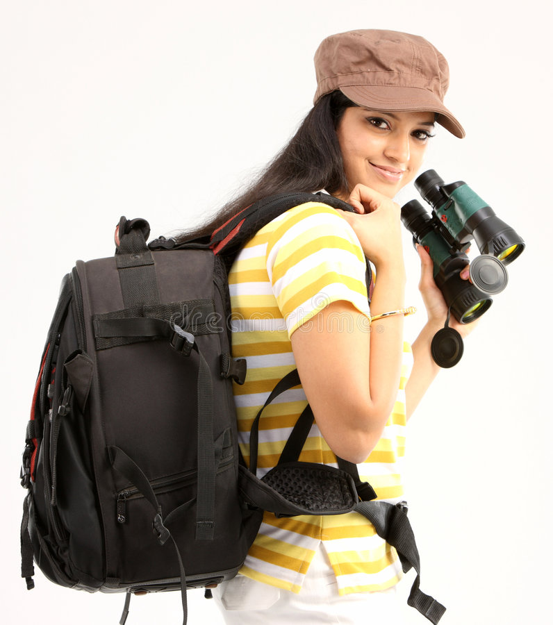 Beautiful girl in traveling mood stock photography